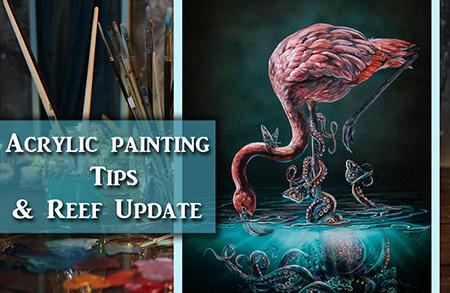 Acrylic Painting Tips – Surreal Flamingo &  Octopus