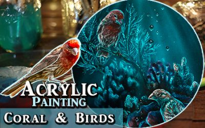 Mixing Coral and wild Birds in an Acrylic Painting