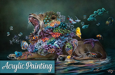 Acrylic Painting Tips – Surreal Lion & Coral