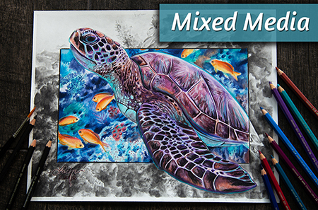 Watercolor & Graphite Mixed Media Sea Turtle Painting