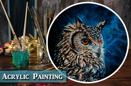 Owl Oil over Acrylic Painting & Dart Frog Vivarium Updates