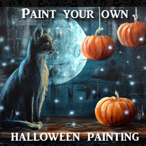 acrylic black cat and pumpkin tutorial lachri fine art - Halloween Pictures To Paint