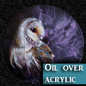 Barn owl oil over acrylic painting demonstration