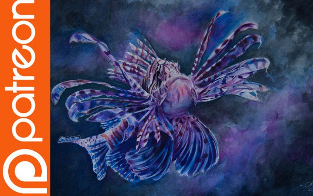 Patreon – Lionfish Watercolor Pencil Lesson